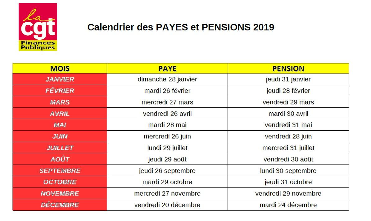 Calendrier Paie Dgfip.Cgt Finances Publiques De Loire Atlantique 44